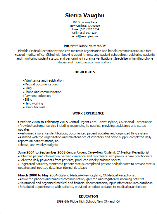 Professional Medical Receptionist Resume Templates To Showcase