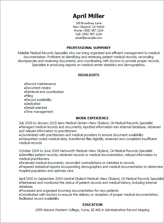 Professional Medical Records Specialist Resume Templates To
