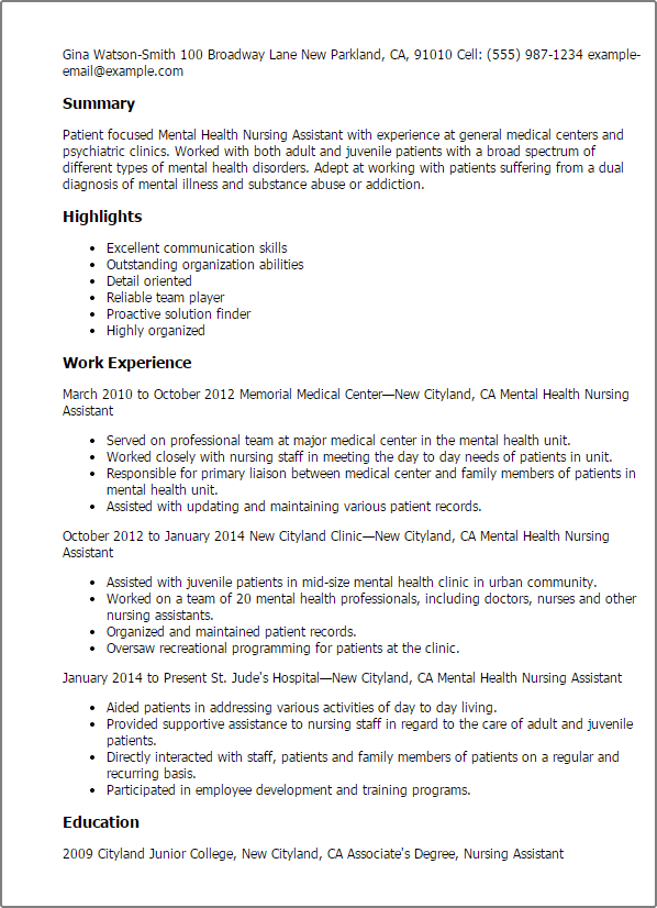 mental health nurse cv