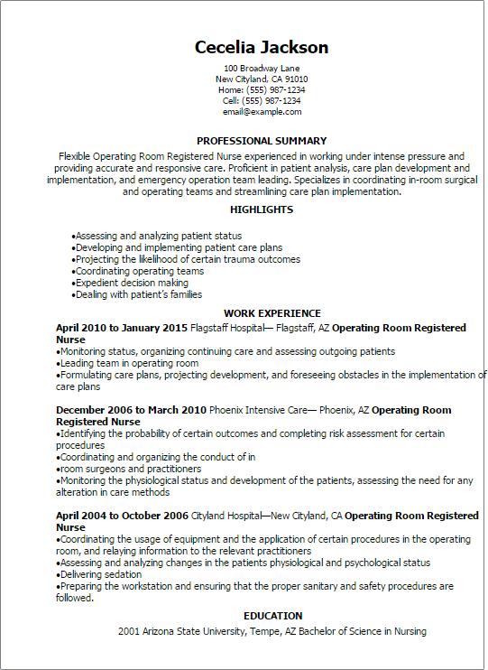 professional operating room registered nurse resume templates to - Surgery Nurse Sample Resume