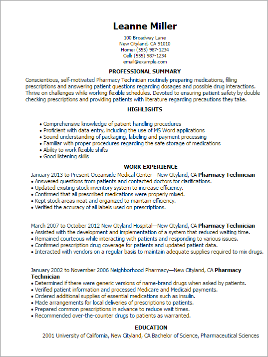 Professional Pharmacy Technician Templates To Showcase Your Talent  Pharmacist Resume Template