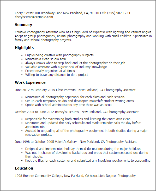 Sample Resume For Wedding Photographer   Resume Pdf Download