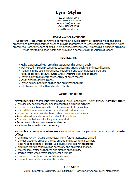 Police Officer Resume Sample Officer Resume Police Officer