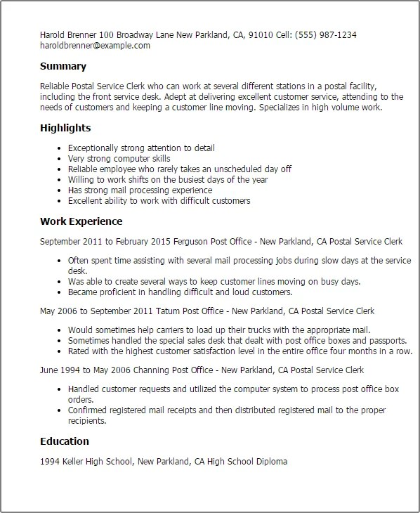 Post Resume Free: Resume Objective For Postal Clerk