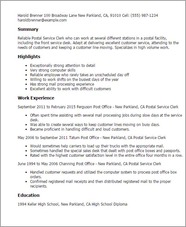 Resume Objective For Postal Clerk