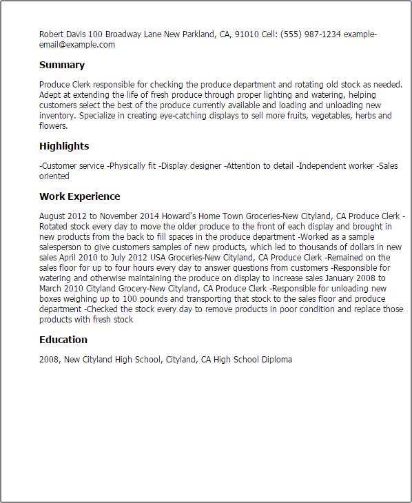 Sample Resume Of Stock Clerk