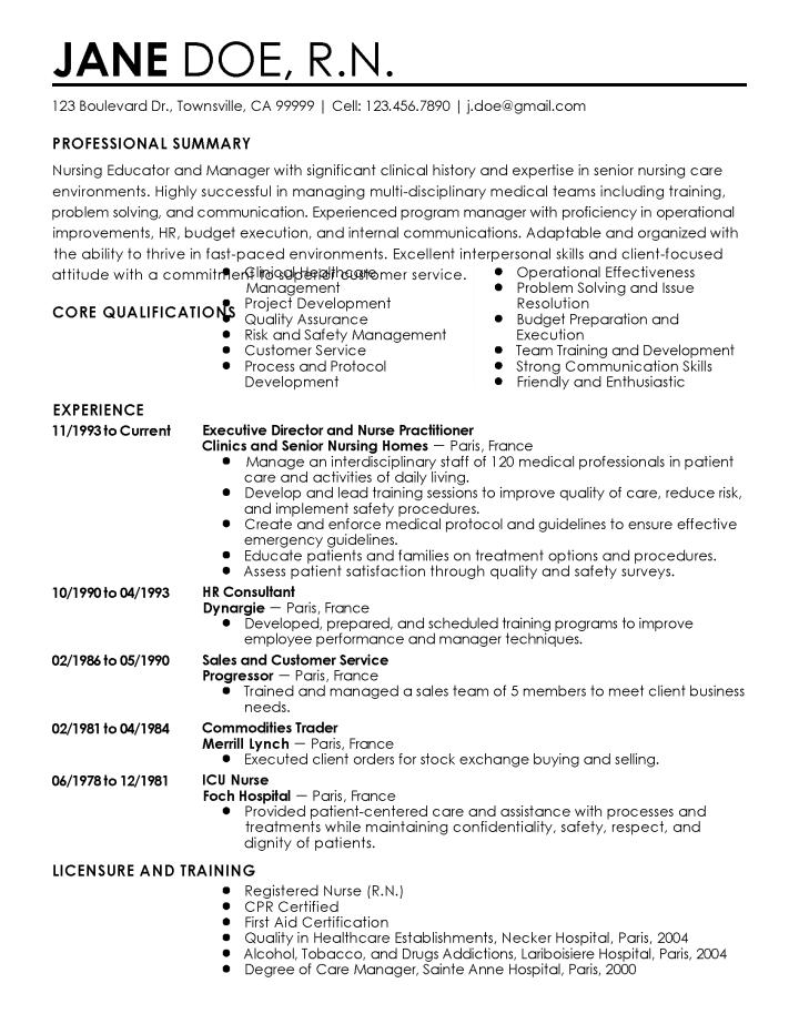 nurse educator resumes