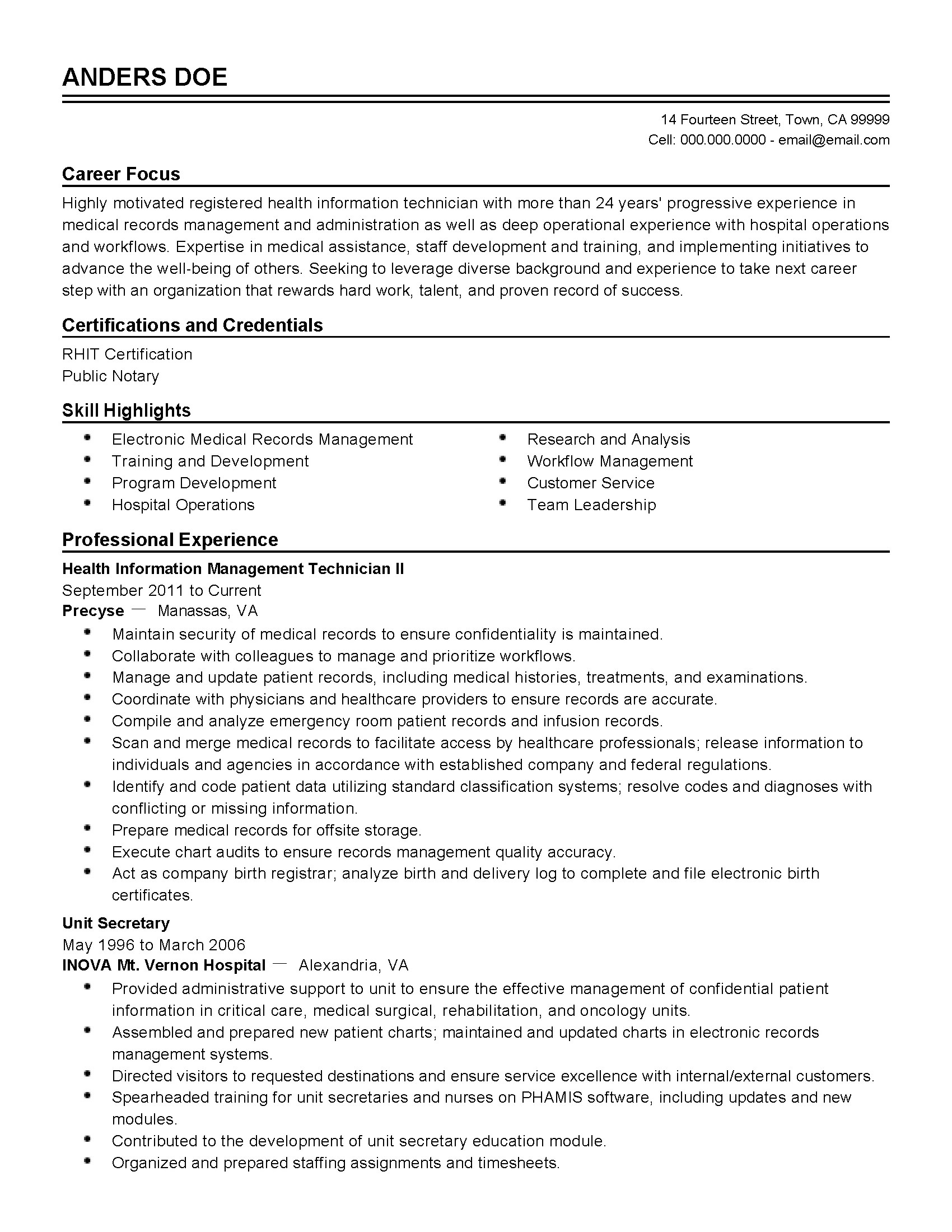 Director Of Information Technology Resume Sample Professional Health Information Technician Templates To