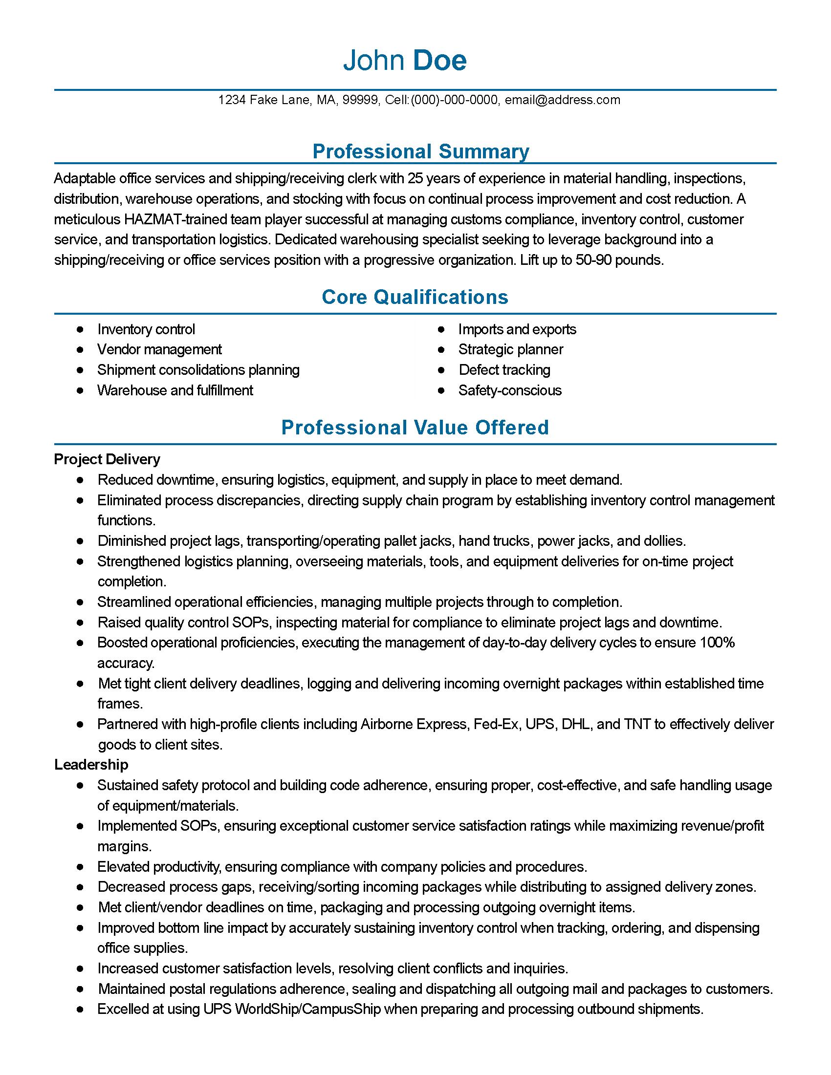 shipping receiving clerk sample resume sample student resume