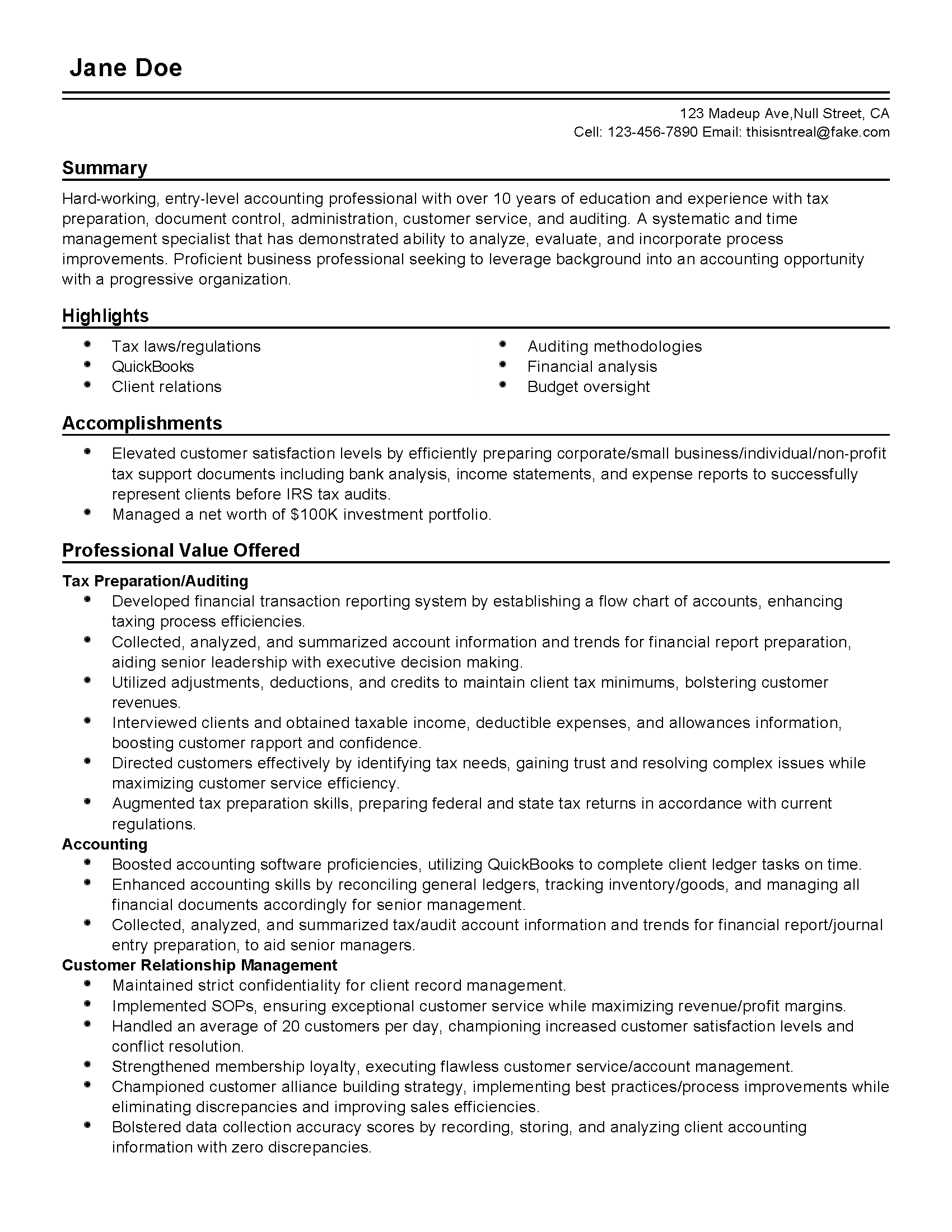 Faking Your Resume Professional Entry Level Accounting Professional Templates