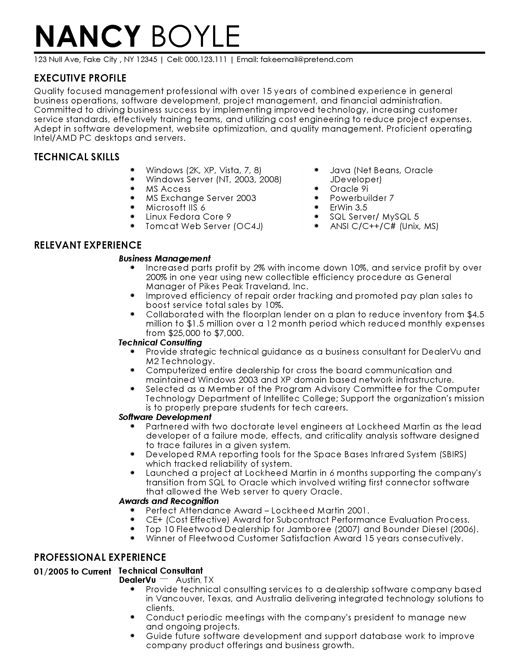 Project Management Experience On Resume Professional Business Management Templates To Showcase