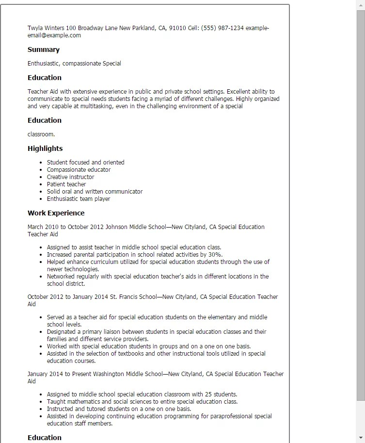 Educational Aide Sample Resume Teachers Aide Or Assistant Resume