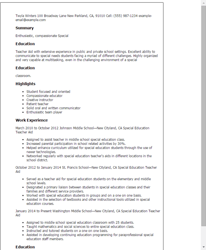 sample resume for special education teacher resume sample