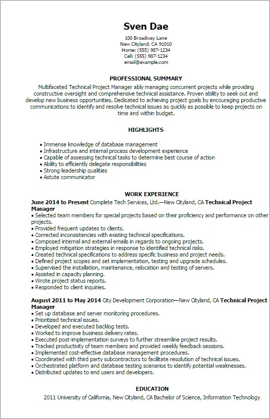 Technical Project Manager Resume - Resume Sample