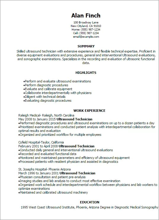 Professional Ultrasound Technician Resume Templates To Showcase