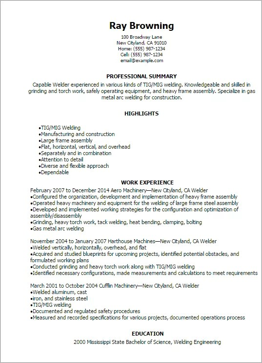 Professional Welder Resume Templates To Showcase Your Talent