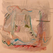 """Turpentine Wash on Cut Paper < 26"""" 1974. Amorphic color and space in counterpoint relationship with hardedge, linear and geometric embellishments."""