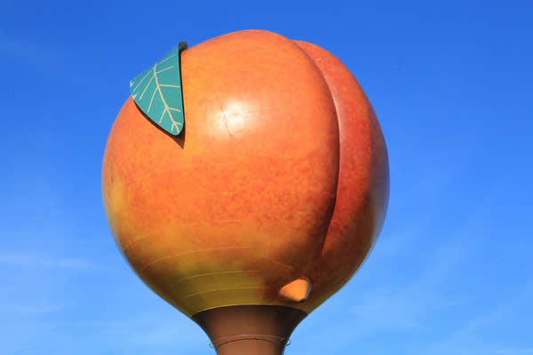 a photograph of a water tower shaped like a giant peach