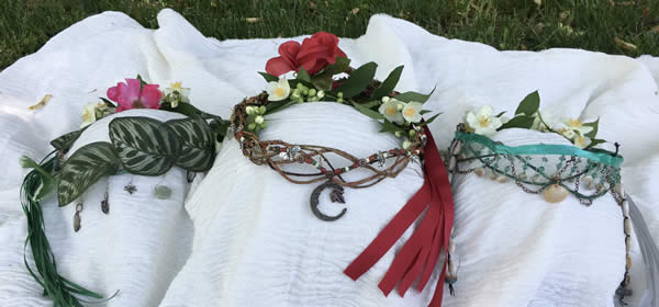 Crowns worn by the MayQueen (center) the Cauldronkeeper (right) and the Besomkeeper (left.) Our women's mysteries group, Sisters of the Cauldron, crafted these together. Photo by Heron Michelle