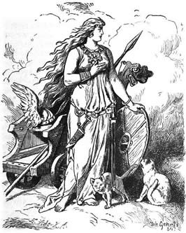 a woan rests her hand upon a shield next to a chairot drawn by cats
