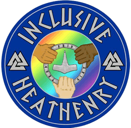 """a circular symbol with a blue border shwoing three hands clasping a ring in which Thor's hammer is pictured. the hands are of three different skin tones. The caption reads """"Inclusive Heathenry"""""""