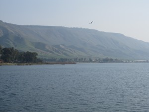 "The hills  and ""mountains"" around Galilee (my pic, on the NE shore. Up those hills and beyond are the Golan Heights.)"
