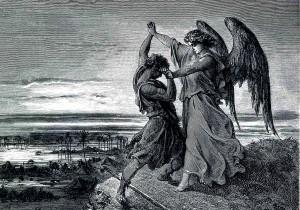 Jacob wrestles with critical scholarship. Gustav Doré, public domain.