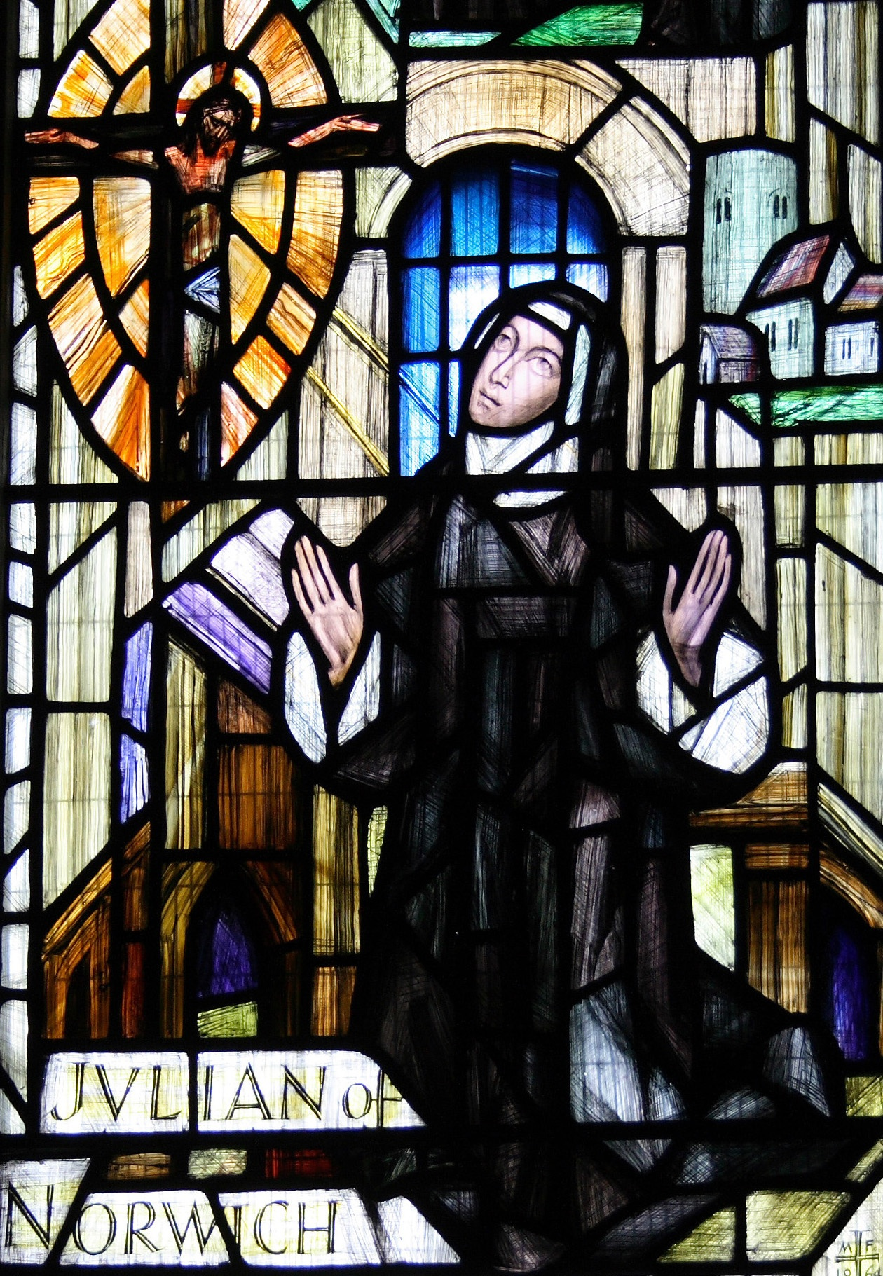 Julian of Norwich Stained Glass, Norwich Cathedral. Photo by Ian-S, used by permission.