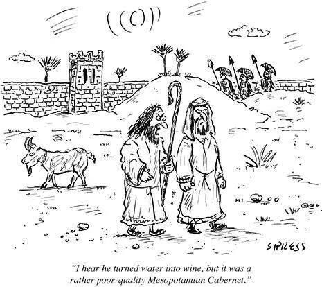 humor cartoon jesus water water into wine wine