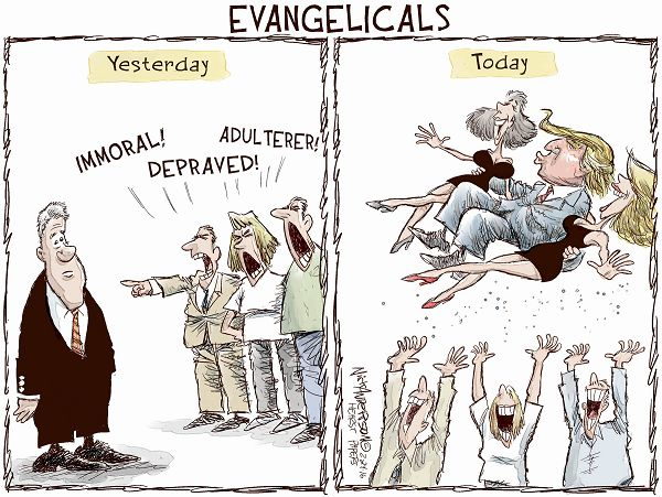 Image result for cartoons of evangelicals trump