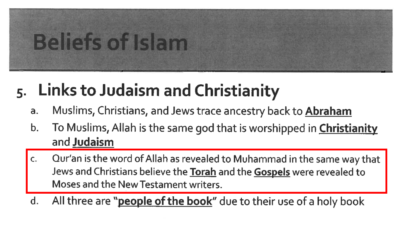 Christian Parents File Federal Lawsuit After Daughter Learns About Islam In World History Class