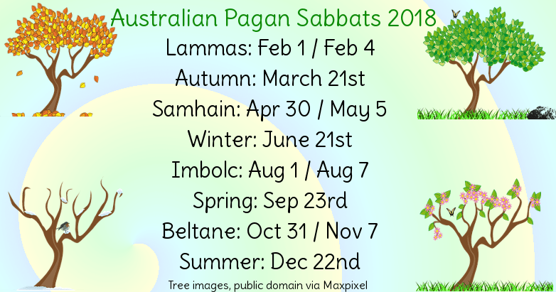 Aussie Pagan Calendar for 2018