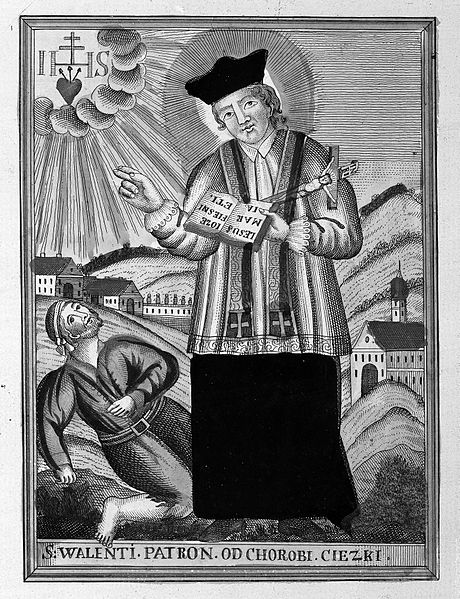 The Saint in an old etching, from WikiMedia.