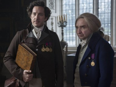 Bertie Carvel (left), as Strange, and Eddie Marsan (right), as Norrell in the 2015 BBC production of Jonathan Strange and Mr. Norrell.