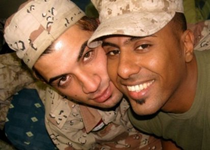 Btoo Allami (L) and Nayyef Hrebid (R) two soldiers who fall in love in the midst of the Iraq War the documentary Out of Iraq.