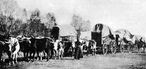 Wagon train. Image via Wikimedia Commons. Public domain.