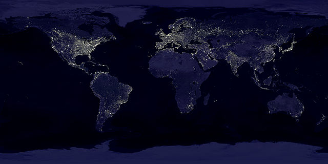 """Earthlights"" - Data courtesy Marc Imhoff of NASA GSFC and Christopher Elvidge of NOAA NGDC.Image by Craig Mayhew and Robert Simmon, NASA GSFC. - http://eoimages.gsfc.nasa.gov/ve//1438/land_lights_16384.tif. Licensed under Public Domain via Commons - https://commons.wikimedia.org/wiki/File:Earthlights_dmsp.jpg#/media/File:Earthlights_dmsp.jpg"