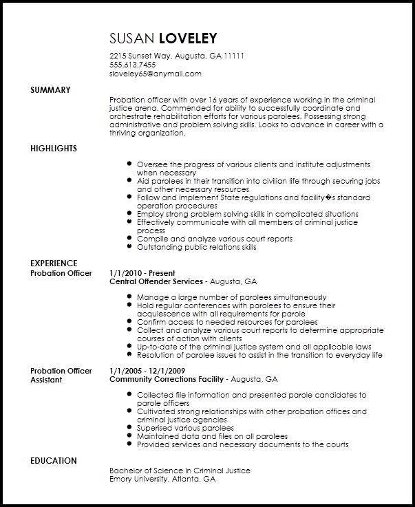 Free Contemporary Probation Officer Resume Template