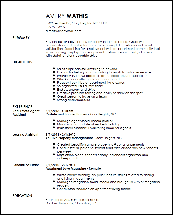 Free Creative Apartment Leasing Consultant Resume Template