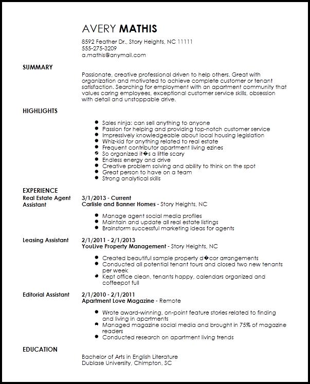 Resume Leasing Consultant