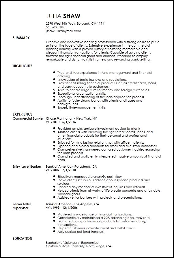 Free Creative Banking Resume Template ResumeNow