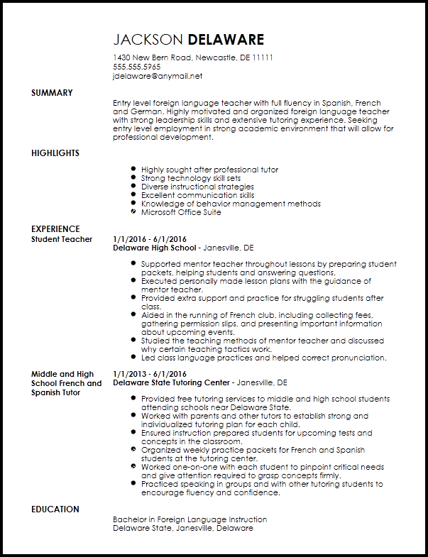 Free Entry Level Foreign Language Teacher Resume Template