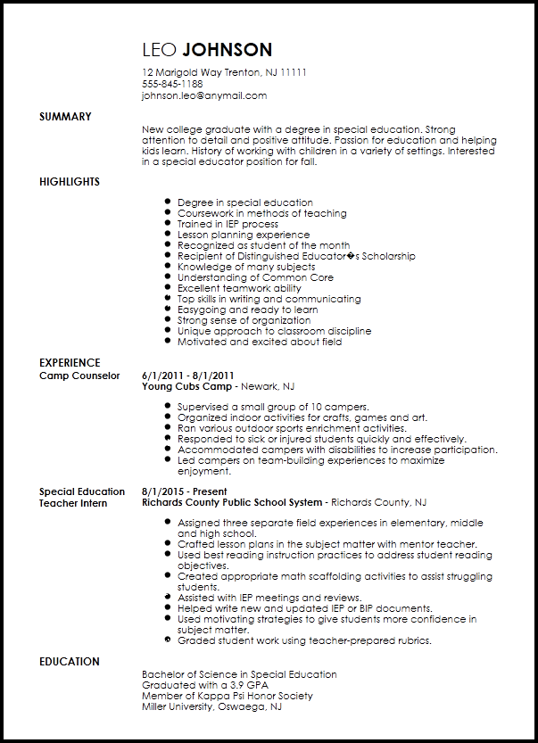Free Entry Level Special Education Teacher Resume Template