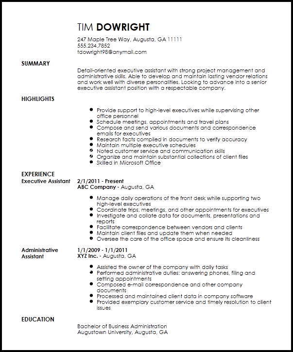 Free Professional Executive Assistant Resume Template