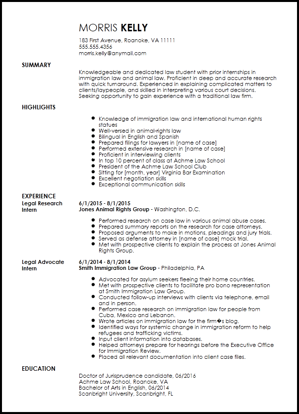 Free Traditional Legal Internship Resume Template ResumeNow