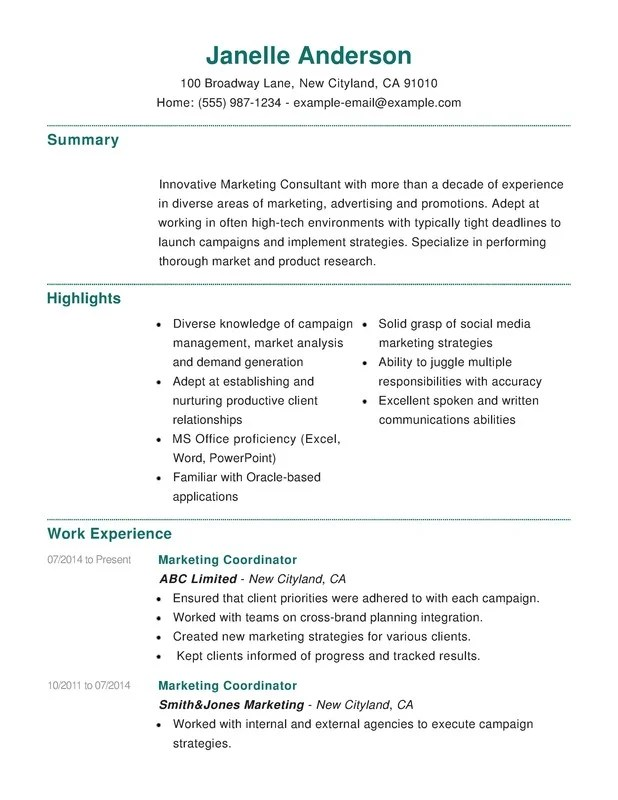 Marketing Combination Resume Samples Examples Format Templates  Resume Help