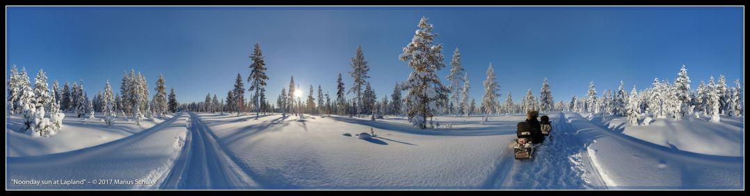 Noonday sun at Lapland