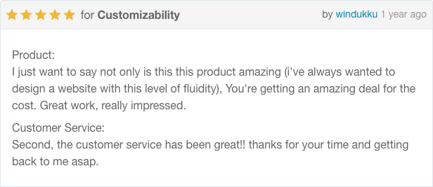 Product - I just want to say not only is this product amazing (I've always wanted to design a website with this level of fluidity), You're getting an amazing deal for the cost. Great work, really impressed. Customer Service - Second, the customer service has been great!! thanks for your time and getting back to me asap