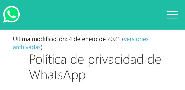 privacidad de whatsApp 2021