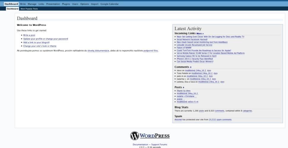 Aktualizácia historickej verzie WordPress